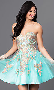 Image of short strapless babydoll homecoming dress.  Style: DQ-9484 Detail Image 3
