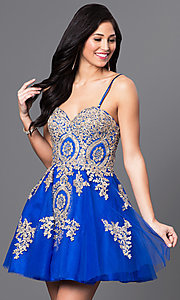 Image of short strapless babydoll homecoming dress.  Style: DQ-9484 Detail Image 2