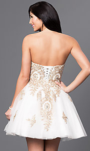 Image of short strapless babydoll homecoming dress.  Style: DQ-9484 Back Image
