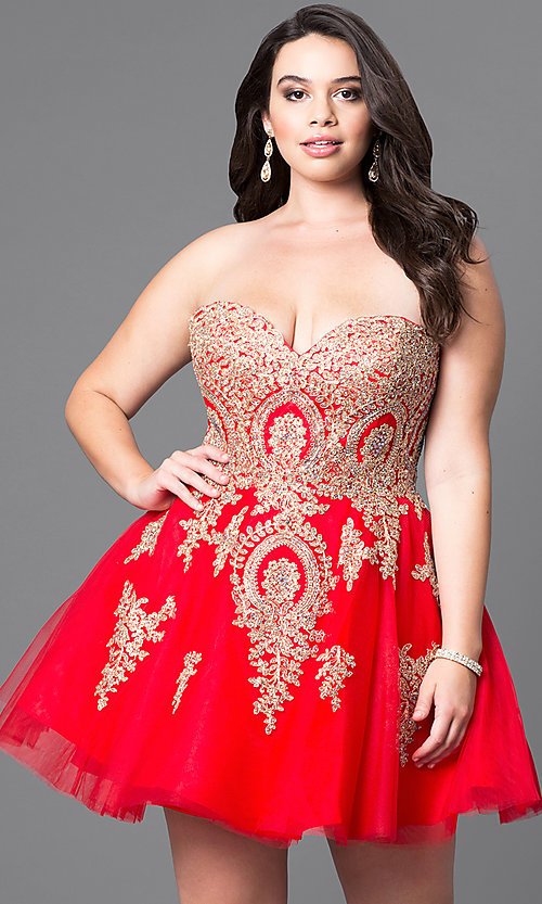 Plus-Size Beaded-Lace Homecoming Dress - PromGirl