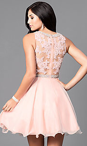 Image of short lace illusion-bodice homecoming dress. Style: DQ-9467 Back Image