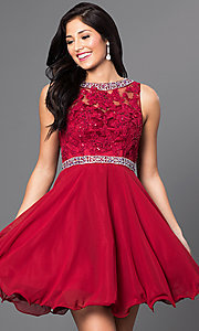 Image of short lace illusion-bodice homecoming dress. Style: DQ-9467 Front Image