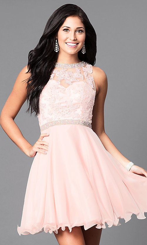 Image of short lace illusion-bodice homecoming dress. Style: DQ-9467 Detail Image 1