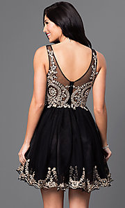 Image of sleeveless v-neck embellished short homecoming dress. Style: DQ-9422 Back Image