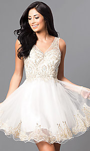 Sleeveless V-Neck Embellished Short Homecoming Dress