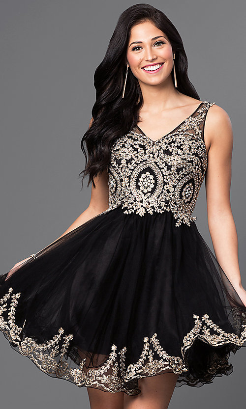Image of sleeveless v-neck embellished short homecoming dress. Style: DQ-9422 Detail Image 1