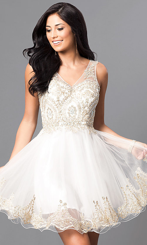 Image of sleeveless v-neck embellished short homecoming dress. Style: DQ-9422 Front Image