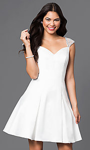 Jeweled Cap Sleeved Short Princess-Cut Dress