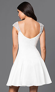 Image of jeweled cap sleeved short princess-cut dress. Style: DQ-9476 Back Image