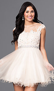 Image of short a-line tulle illusion-square-neck party dress. Style: DQ-9489 Detail Image 3