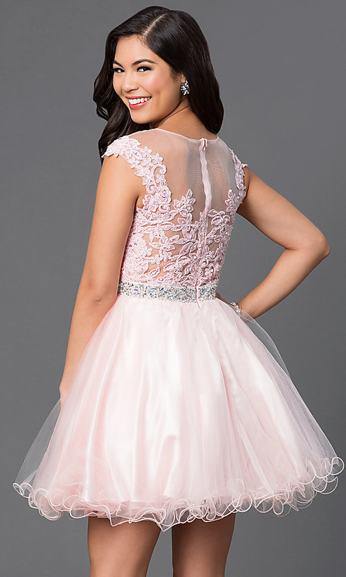 Image of short a-line tulle illusion-square-neck party dress. Style: DQ-9489 Back Image