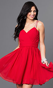 Image of short sweetheart homecoming dress with corset. Style: DQ-9472 Detail Image 2
