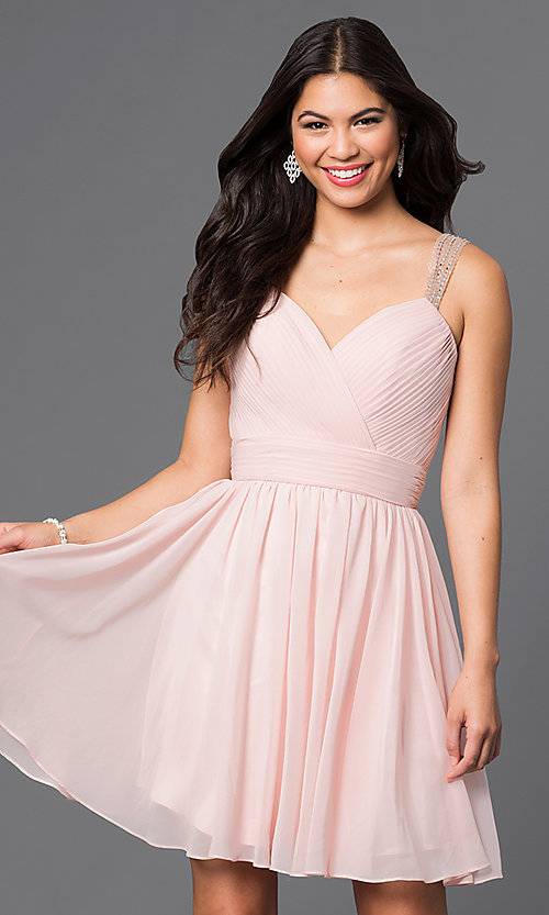 Image of short sweetheart homecoming dress with corset. Style: DQ-9472 Front Image
