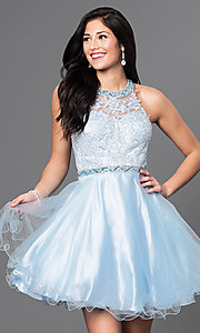 Image of lace-bodice sweetheart homecoming dress with jewels. Style: DQ-9534 Detail Image 2