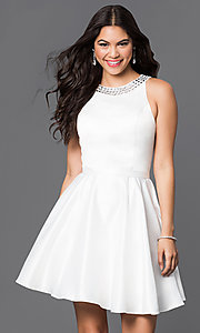 Image of short a-line homecoming dress with jeweled collar. Style: DQ-9463 Detail Image 1