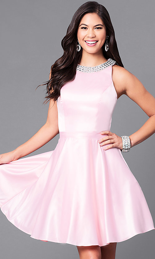 Image of short a-line homecoming dress with jeweled collar. Style: DQ-9463 Detail Image 3