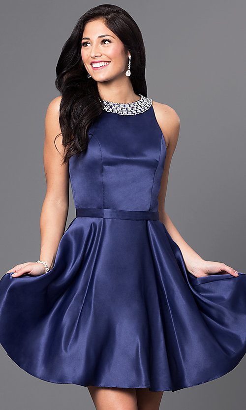Image of short a-line homecoming dress with jeweled collar. Style: DQ-9463 Detail Image 2
