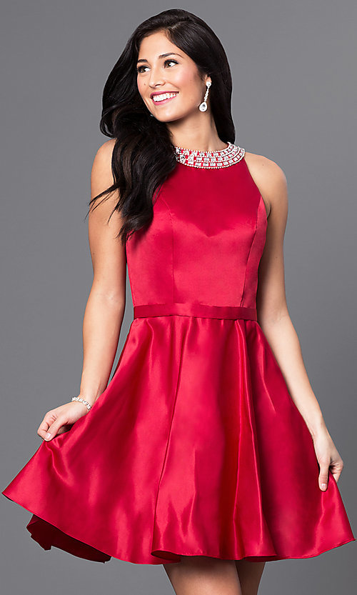 Image of short a-line homecoming dress with jeweled collar. Style: DQ-9463 Front Image