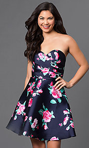Strapless Short Floral Print Dress