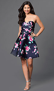 Image of strapless short floral-print navy homecoming dress. Style: DQ-9522 Detail Image 1