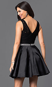 Image of short lace-bodice satin homecoming dress with beads. Style: DQ-9503 Back Image