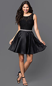 Image of short lace-bodice satin homecoming dress with beads. Style: DQ-9503 Detail Image 2