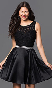Image of short lace-bodice satin homecoming dress with beads. Style: DQ-9503 Detail Image 1