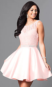 Short Lace-Bodice Satin Homecoming Dress with Beads
