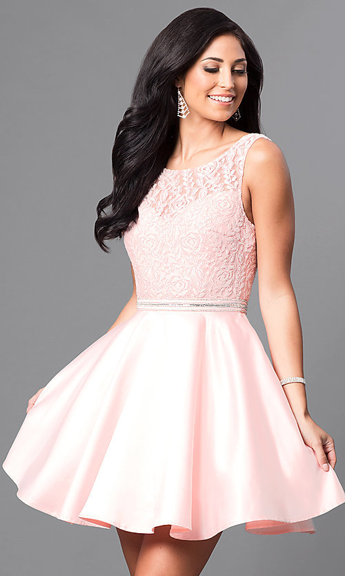Image of short lace-bodice satin homecoming dress with beads. Style: DQ-9503 Front Image