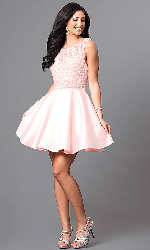 Image of short lace-bodice satin homecoming dress with beads. Style: DQ-9503 Detail Image 3