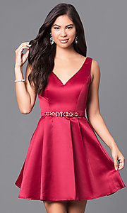 Image of fit-and-flare short v-neck homecoming dress. Style: DQ-9514 Detail Image 2