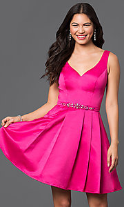 Image of fit-and-flare short v-neck homecoming dress. Style: DQ-9514 Detail Image 1