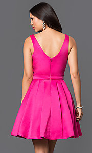 Image of fit-and-flare short v-neck homecoming dress. Style: DQ-9514 Back Image