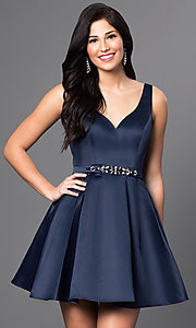 Image of fit-and-flare short v-neck homecoming dress. Style: DQ-9514 Front Image