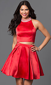 Two Piece Jeweled Collar Short Dress