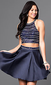 Image of short two-piece jeweled-bodice homecoming dress. Style: DQ-9475 Front Image