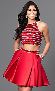 Image of short two-piece jeweled-bodice homecoming dress. Style: DQ-9475 Detail Image 1