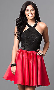 Image of short halter homecoming dress with lace bodice. Style: DQ-9509 Front Image