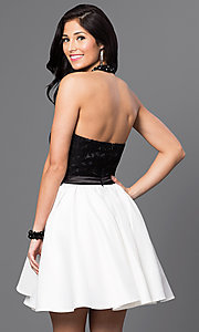 Image of short halter homecoming dress with lace bodice. Style: DQ-9509 Back Image