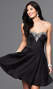 Short Strapless Homecoming Dress with Jeweled Bodice