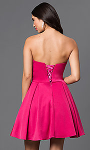 Image of short strapless homecoming dress with jeweled bodice. Style: DQ-9492 Back Image