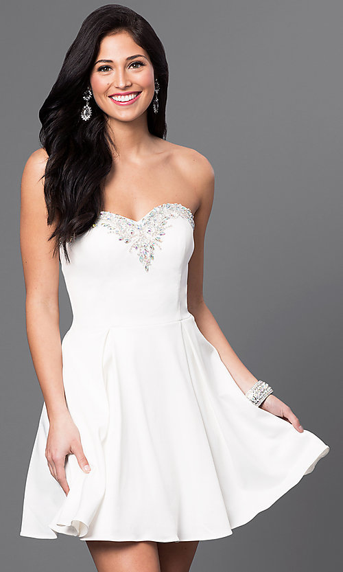 Image of short strapless homecoming dress with jeweled bodice. Style: DQ-9492 Detail Image 2