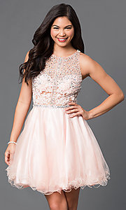 Image of racerback short babydoll homecoming party dress. Style: DQ-9461 Detail Image 1