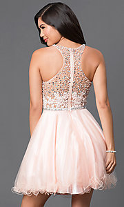 Image of racerback short babydoll homecoming party dress. Style: DQ-9461 Back Image