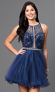 Image of racerback short babydoll homecoming party dress. Style: DQ-9461 Front Image