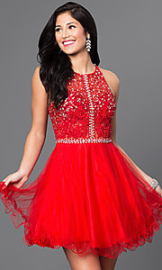 Image of racerback short babydoll homecoming party dress. Style: DQ-9461 Detail Image 3