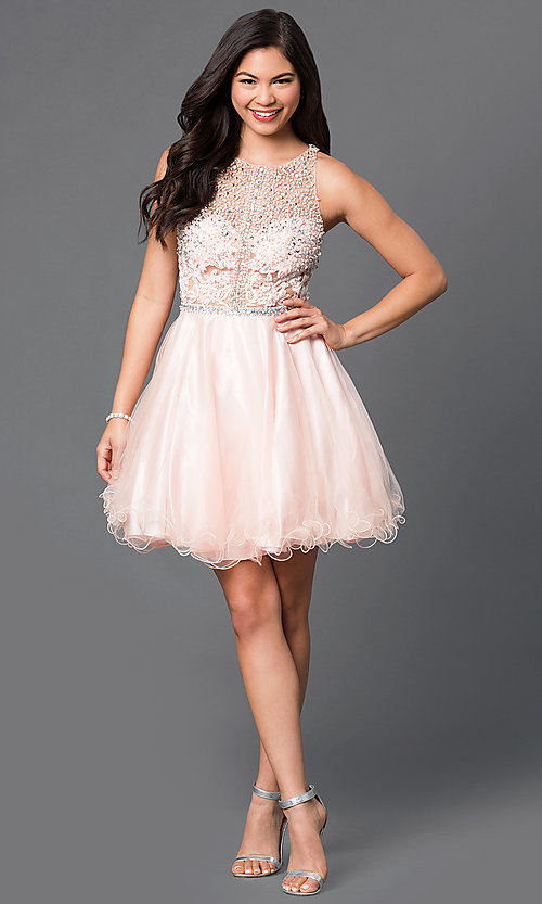 Image of racerback short babydoll homecoming party dress. Style: DQ-9461 Detail Image 2
