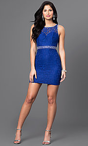 Image of sleeveless short lace mini homecoming party dress. Style: DQ-9506 Detail Image 1