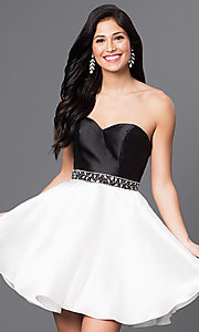 Short Two Tone Strapless Sweetheart Dress