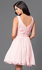 Image of short chiffon homecoming dress with ruched bodice. Style: DQ-9496 Back Image